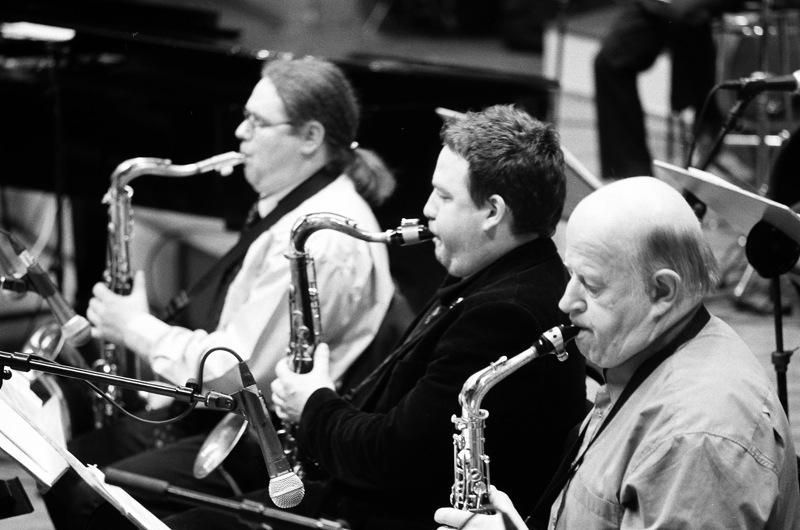 Mirage Jazz Orchestra - no kreisās: Indriķis Veitners, Deniss Paškevičs, Ivars Birkāns