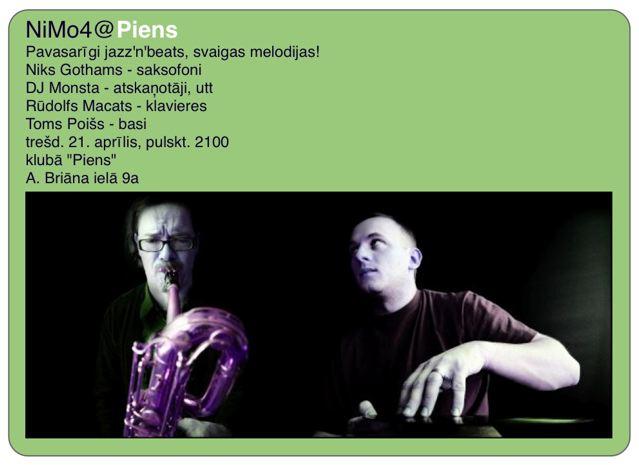 NiMo koncerts klubā Piens, 21. aprīlī, plkst. 21:00