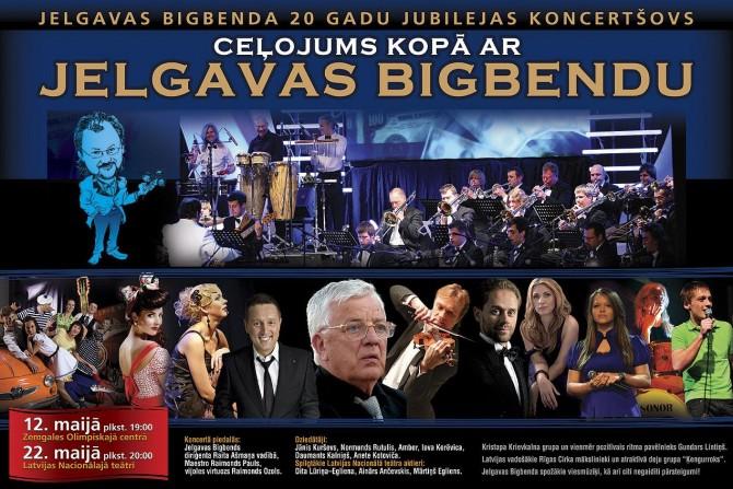 """Jelgavas Bigbenda     20 gadu jubilejas koncertšovs """"Ceļojums kopā ar Jelgavas Bigbendu"""""""
